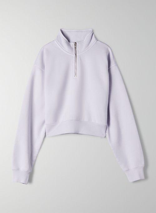 COZY FLEECE PERFECT 1/4 ZIP SWEATSHIRT - Cropped, quarter-zip sweatshirt