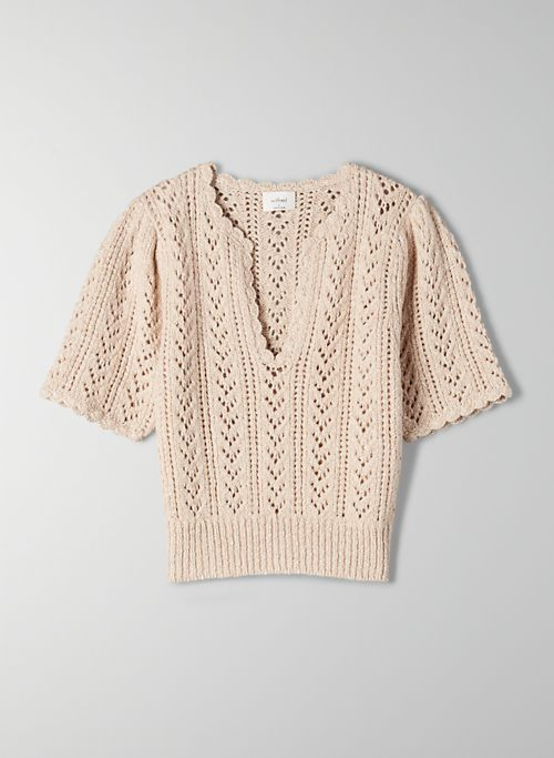 CROCHET V-NECK SWEATER | Aritzia