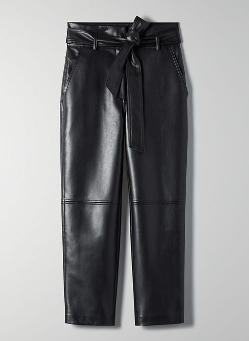 NEW TIE-FRONT PANT - Vegan leather trousers
