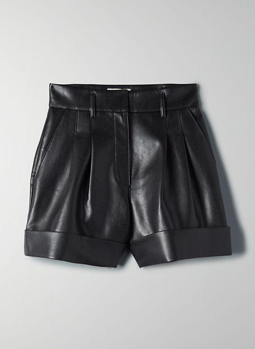 LABYRINTH SHORT - Cuffed vegan leather shorts