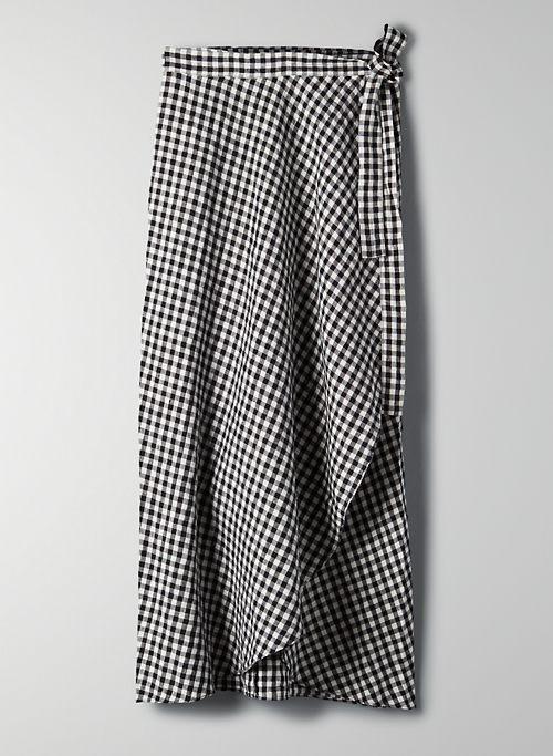 ELETA SKIRT - Striped, linen wrap skirt