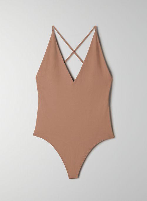 CONTOUR STRAPPY BODYSUIT - V-neck halter bodysuit