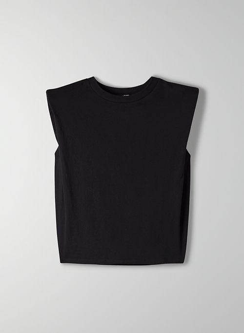 SHOULDER PAD T-SHIRT - Sleeveless, crew-neck t-shirt
