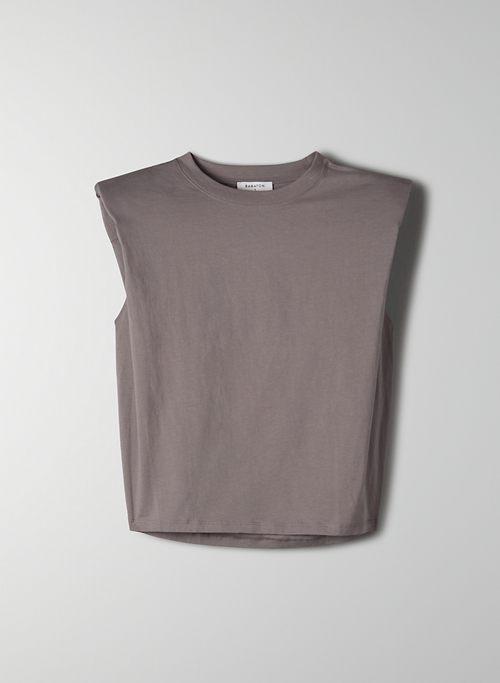 SHOULDER PAD T-SHIRT - Crew-neck t-shirt with shoulder pads