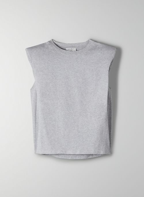 SHOULDER PAD T-SHIRT - Sleeveless, crew-neck t-shirt