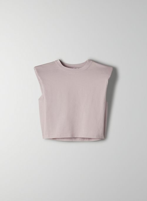 SHOULDER PAD CROPPED T-SHIRT - Cropped, crew-neck tank top