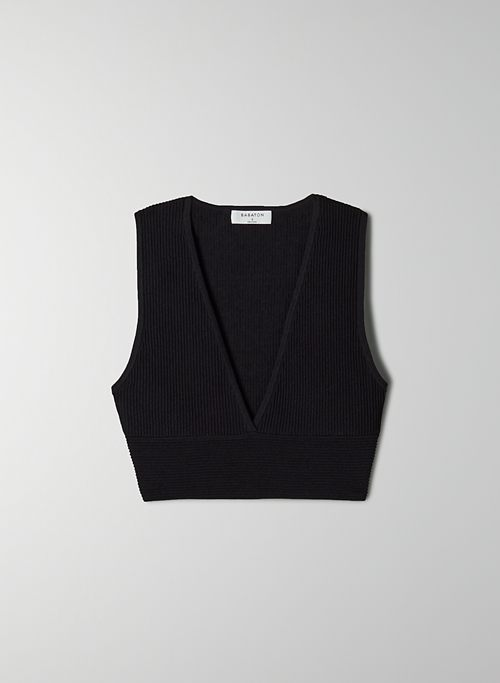 CARLOTTA SCULPT KNIT TANK - Ribbed V-neck tank top
