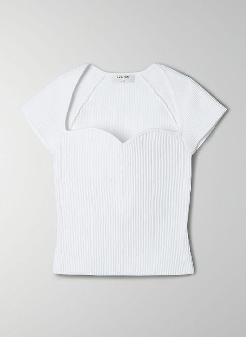 SCULPT KNIT SWEETHEART T-SHIRT - Ribbed sweetheart t-shirt