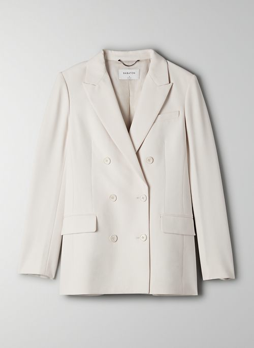 SAMUEL BLAZER - Classic-fit, double-breasted twill blazer