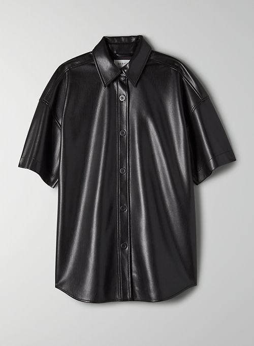 FRANCES BUTTON-UP - Short-sleeve Vegan Leather shirt jacket