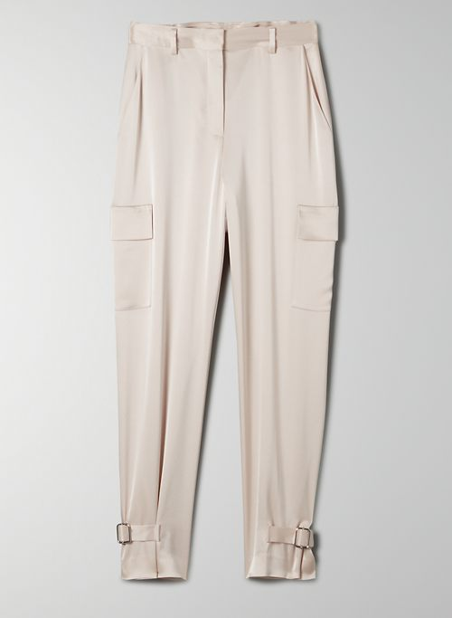 REFINED CARGO PANT - High-waisted, satin cargo pants