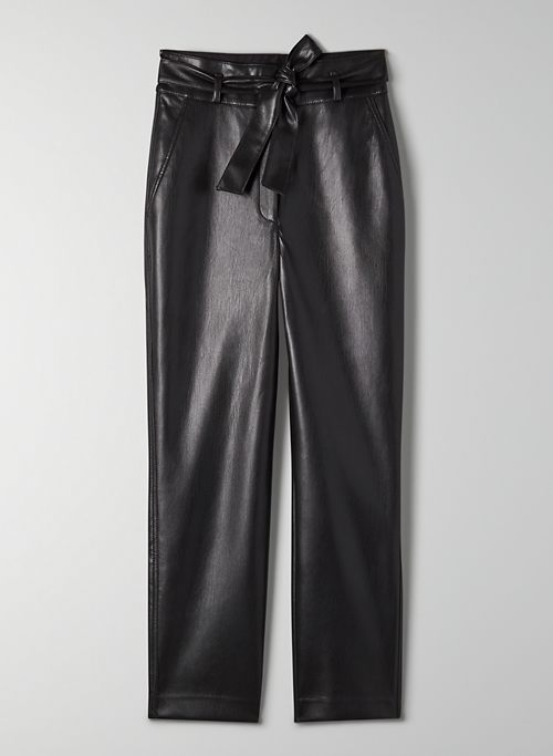 VEGAN LEATHER BELTED PANT - Tie-front Vegan Leather pants
