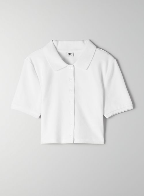 AUDIO TOP - Cropped, ribbed button-front polo