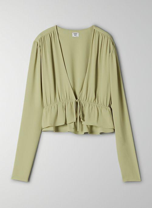 CROPPED TIE-FRONT BLOUSE - Cropped, tie-front blouse