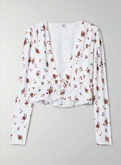 NEW CROPPED TIE-FRONT BLOUSE