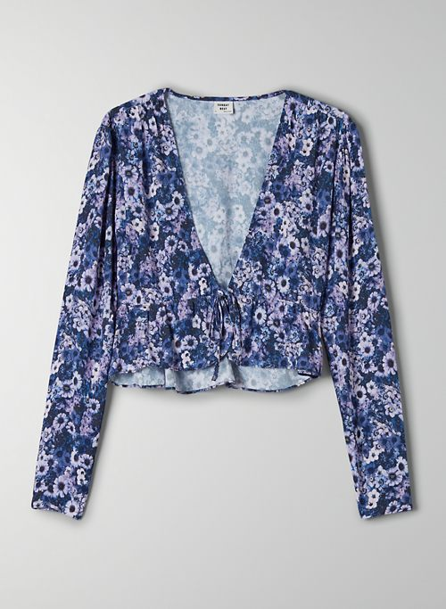 NEW CROPPED TIE-FRONT BLOUSE - Tie-front peplum blouse