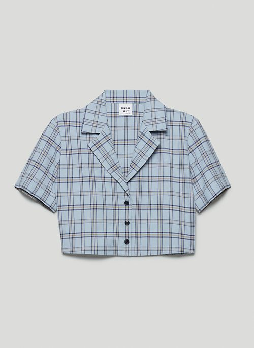 TUESDAY BUTTON-UP - Cropped boxy-fit, button-up shirt