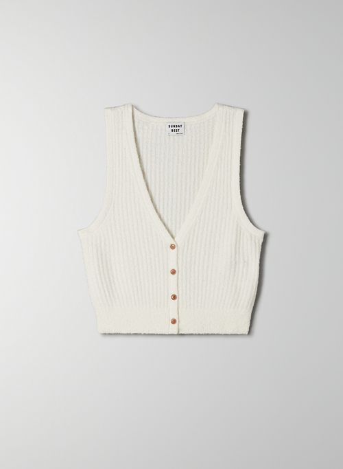 ODE VEST - Cropped, sleeveless button-up vest