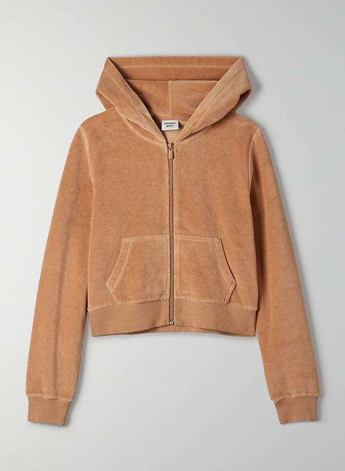 KIERA SWEATER - Velour zip-up hoodie