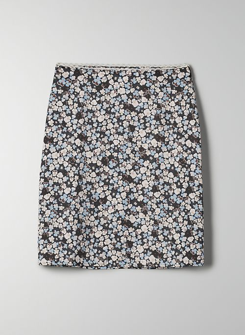 PENELOPE SKIRT - Floral, satin slip skirt