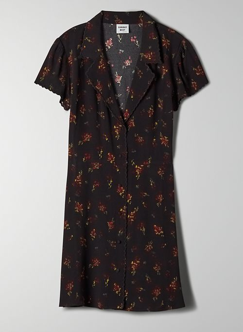 VIDA DRESS - Floral, mini shirt dress