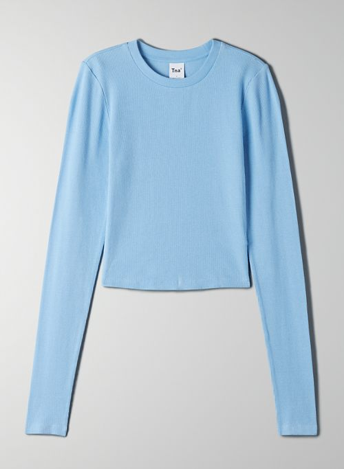RIBBED CROPPED LONGSLEEVE - Cropped, ribbed long-sleeve top