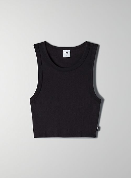 RIBBED CROPPED RACER TANK - Ribbed racerback tank top