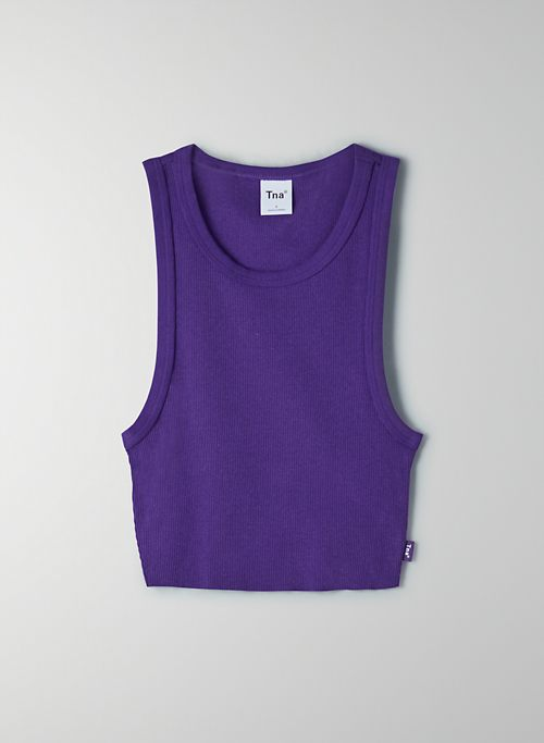 RIBBED CROPPED RACER TANK - Ribbed racerback tank
