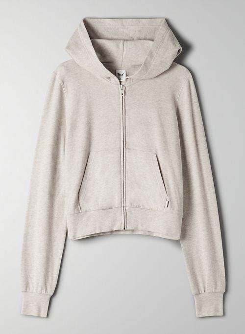 RIB ZIP HOODIE - Ribbed zip-up hoodie