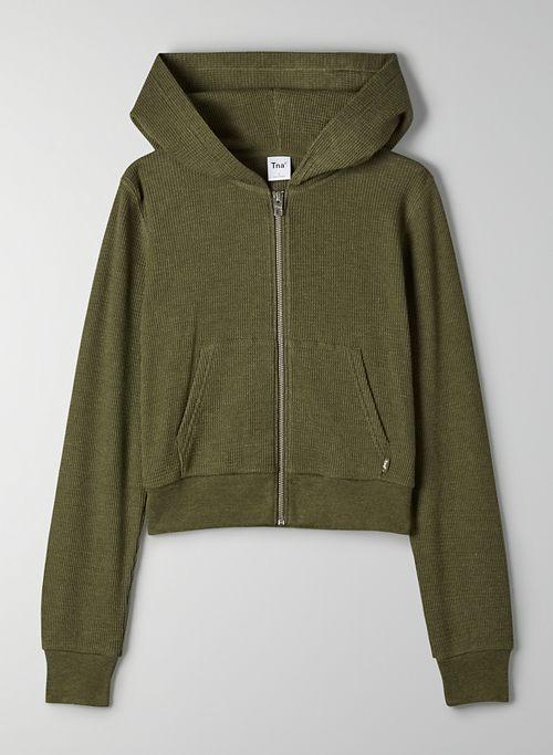 THERMAL ZIP HOODIE - Cropped thermal zip-up hoodie