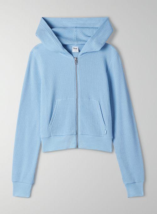 THERMAL ZIP HOODIE - Cropped, thermal zip-up hoodie