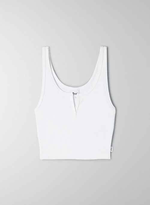 HENLEY TANK - Cropped, scoop-neck tank top
