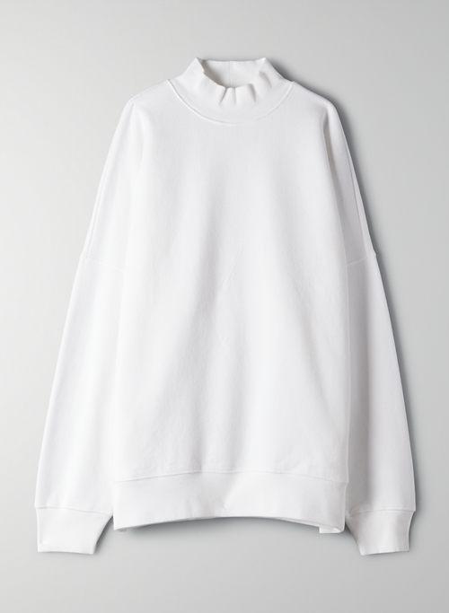 COZY FLEECE BOYFRIEND MOCK SWEATSHIRT - Oversized mock-neck sweatshirt