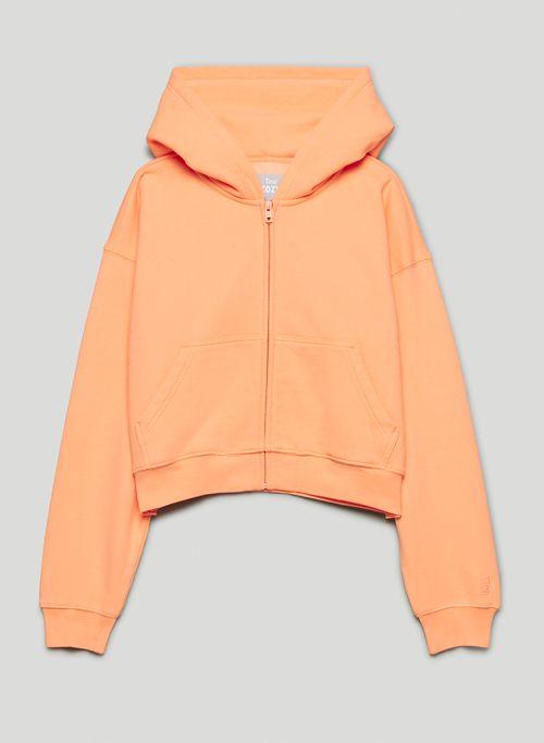 COZY FLEECE BOYFRIEND BOXY ZIP-UP HOODIE - Boxy-fit, zip-up hoodie