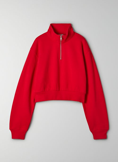 COZY FLEECE PERFECT 1/4 ZIP SWEATSHIRT - Cropped 1/4 zip sweatshirt