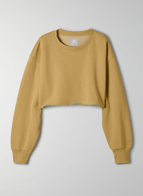 COZY FLEECE BOYFRIEND CROPPED SWEATSHIRT - Cropped, crew-neck sweatshirt