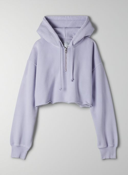 COZY FLEECE BOYFRIEND CROPPED 1/4 ZIP HOODIE - Cropped, 1/4 zip boyfriend hoodie