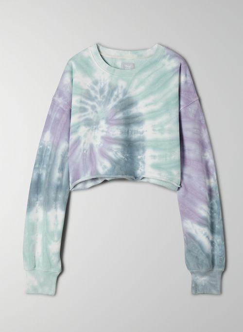 COZY FLEECE BOYFRIEND CROPPED SWEATSHIRT - Cropped tie-dye sweatshirt