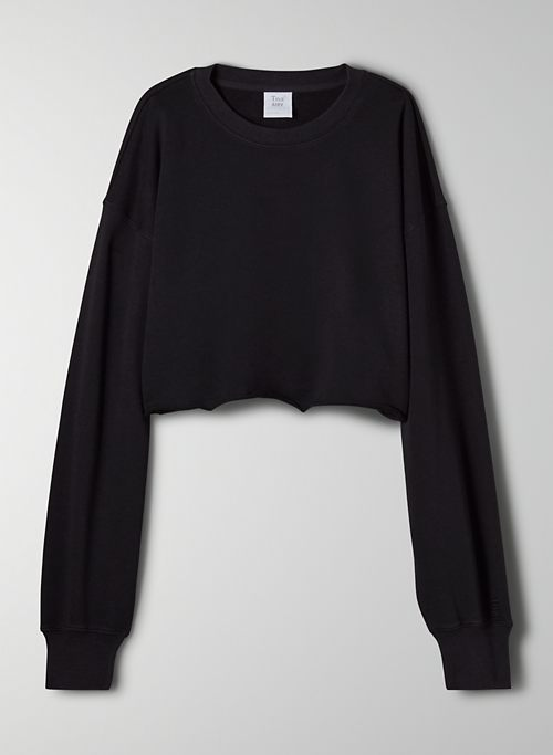 AIRY FLEECE BOYFRIEND CROPPED SWEATSHIRT - Lightweight cropped, crew-neck sweater