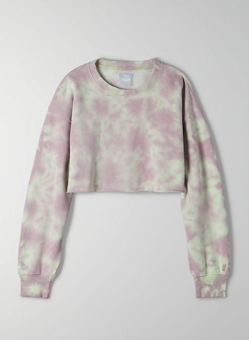 COZY FLEECE BOYFRIEND CROPPED SWEATSHIRT - Cropped boyfriend sweatshirt