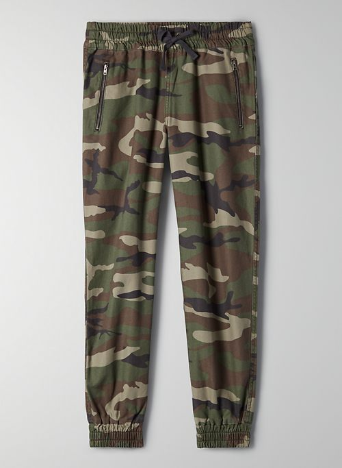 ALIX PANT - High-waisted, elastic-cuff camo joggers
