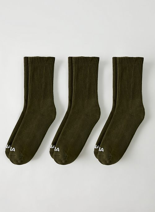 BASE CREW SOCK 3-PACK - Ribbed cotton crew sock