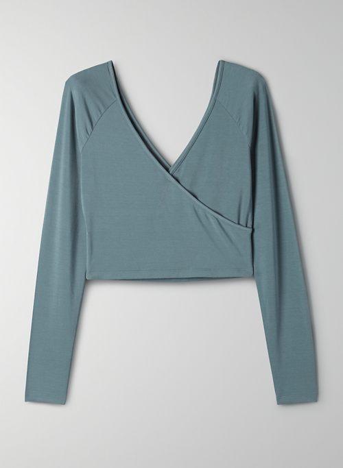 CHABLIS TOP - Long-sleeve, wrap t-shirt