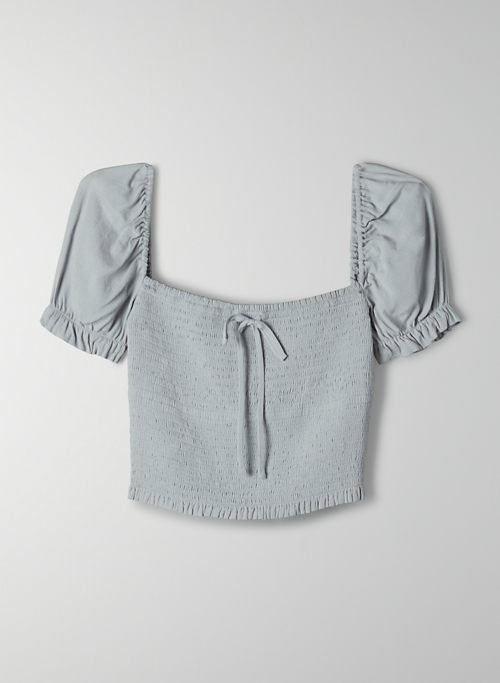 SMOCKED BLOUSE - Cropped, puff-sleeve blouse