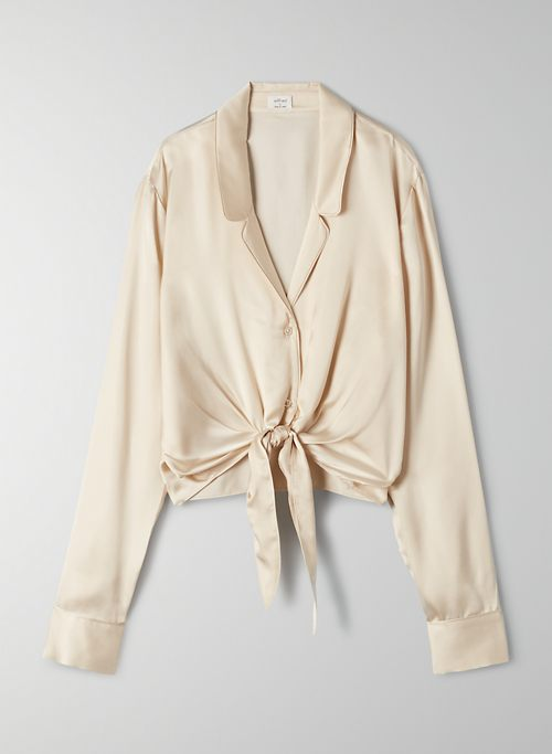 TIE FRONT BLOUSE - Cropped tie-front blouse