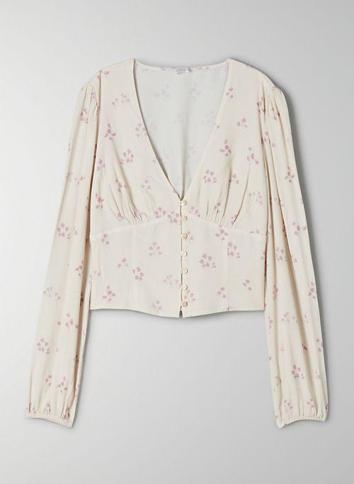 ISOLA TOP - Floral, low V-neck blouse