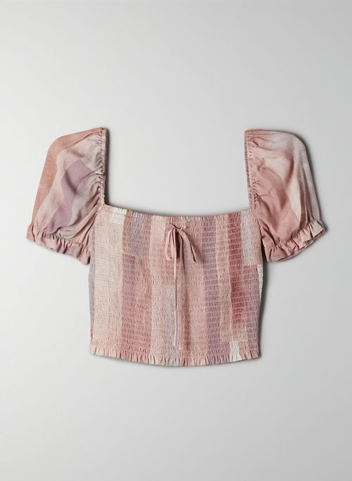 SMOCKED BLOUSE - Cropped, puff-sleeve ruched blouse