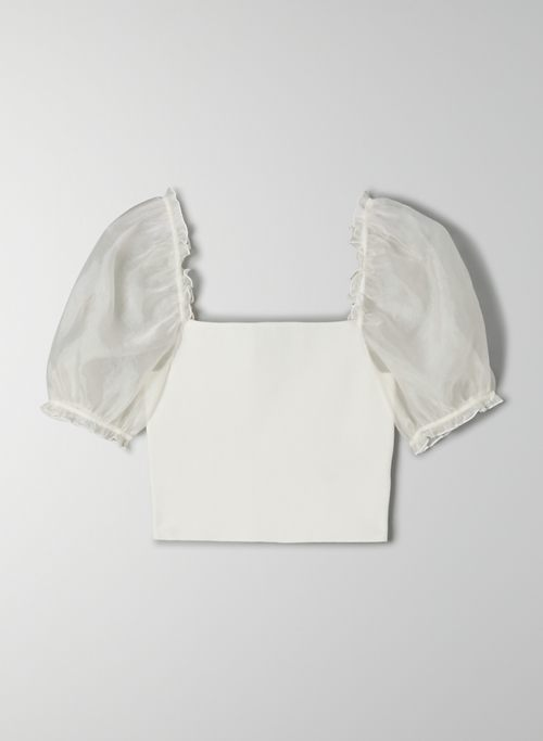 SHEER-SLEEVE TOP - Cropped, puff-sleeve blouse