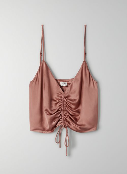 VERSO CAMISOLE - Cropped, ruched satin camisole