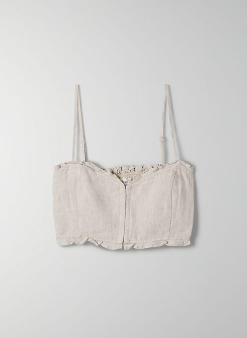 OHARA CAMISOLE - Cropped, organic linen, bustier camisole